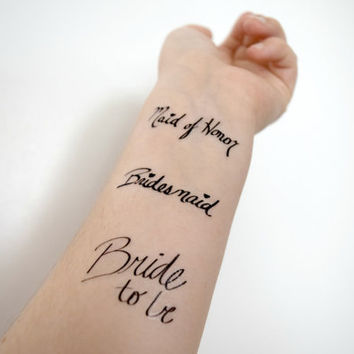 Set of 6 Bridal Party temporary tattoo - READY TO SHIP, Body art , Tattoo, Wedding, Accessories, wedding party