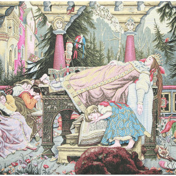Sleeping Beauty Italian Tapestry Wall Art Hanging