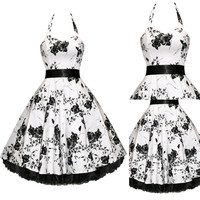 Black and White Vintage Floral Print Halter Lace Hem Prom Skater Dress