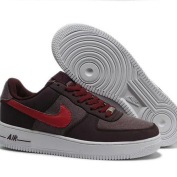 One-nice™ NIKE Women Men Running Sport Casual Shoes Air force low tops contrast color Coffee