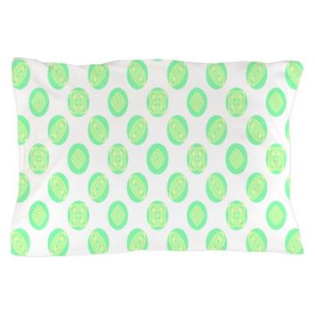 Pastel Green Circle Pattern Pillow Case