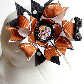 Football Rocks OTT Hair Bow, Girls Football Hair Bow, Boutique Hairbow, Sports Hair Bow, Boutique Hair Bow