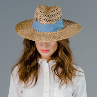 Straw Fedora Sun Hat with Open Weave Wide Brim and Chambray Hat Band