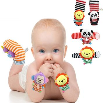 Baby Rattle Toys 2017 New Wrist Rattle Foot Socks Cartoon Animal Multicolor 2pcs Waist+2pcs Socks=4pcs/lot