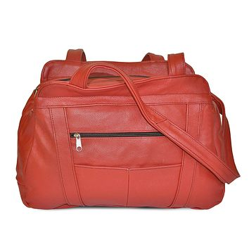 AFONiE Fine Soft Mexican Leather Shoulder Bags - Red Color