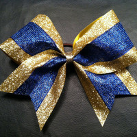 Glitter Sparkle Royal Blue & Gold 3 inch wide by 2girls2Tus