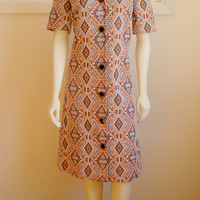 60's Mod Geometric Shirt Dress. Mod. Orange Navy. Scooter Dress. Button Up. Collar. Short Sleeves. Textured. Mod. Retro. Medium Large