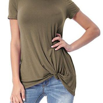 Short Sleeve Loose Tops Solid Basic Twist Front Casual T Shirts