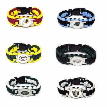 Football Team Packers Panthers Raiders Eagles jets Redskins Paracord Survival Friendship Outdoor Camping Sports Bracelet