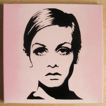 TWIGGY Stencil Graffiti on canvas 60s mod pop art