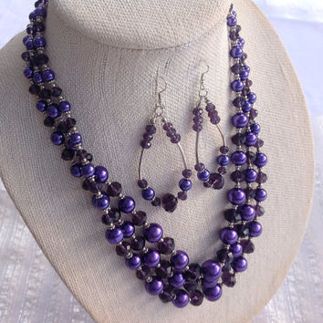 Summer Wedding Necklace set for Bridesmaids, 3 Strand Plum Purple Crystal Jewelry, Prom Necklace with Dangle earrings, Purple gift for Mom