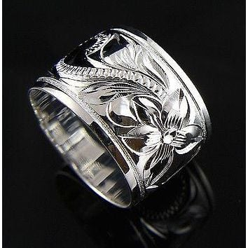 15MM STERLING SILVER 925 HAWAIIAN RING PLUMERIA SCROLL