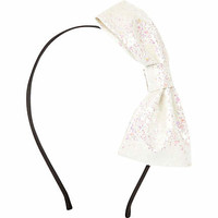 Girls white glitter bow alice band