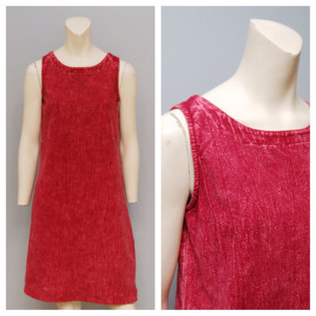 Vintage Dress 1990's Red Stonewashed Denim Jumper Sleeveless Short Grunge Boho Bohemian