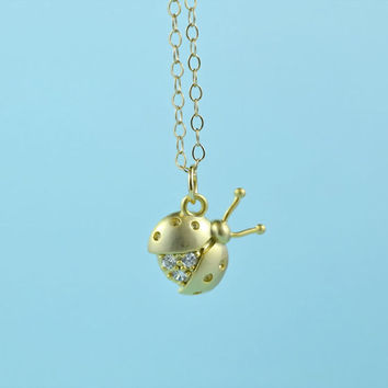 CZ Ladybug Necklace, Gold Plated Brass, Cubic Zirconia, Delicate Chain, Everyday Wear, Perfect Gift,