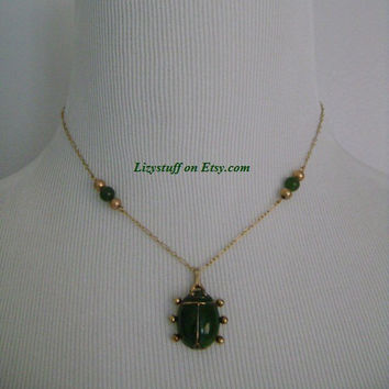 Signed LES BERNARD Inc Very Old Vintage 50's SS Gold Filled Faux Green Jade Adorable Lady Bug Pendant Necklace