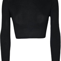 EAST KNITTING E239 Women Sexy Colorful Tops Long Sleeve Womens TurtleNeck Crop Plain Top For Women