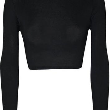 E239 Simple wear 2015 WearAll Womens Turtle Neck Crop Long Sleeve Plain Top