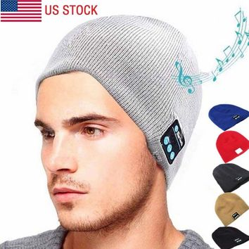 Soft Wireless Warm Beanie Hat Bluetooth Smart Cap Headphone Headset Speaker Mic