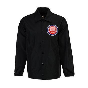 Mitchell & Ness Detroit Pistons NBA Men''s Coaches Jacket Black