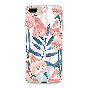 New! Iphone 7 Plus Cases, Flexible Soft TPU cover with 3D texture designs (Tropical Leaves 1)