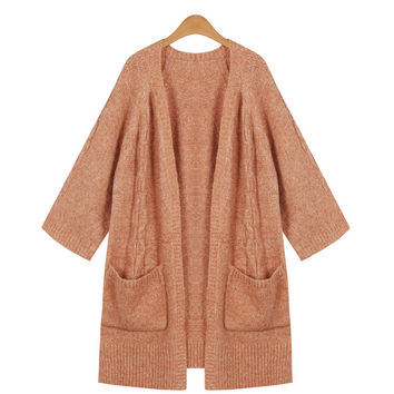 Simple Loose Twisted Braids Pockets Knitted Cardigan