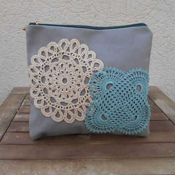 Makeup Bag Large, Lace Cosmetic Bag, Crochet Makeup Bag, Grey Clutch, Green Makeup Bag, Zippered Travel Bag, Gift For Woman