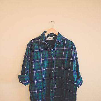 80's REI  Flannel Plaid Navy Blue Green Men's SIze Large L Hipster Cozy Northwest Seattle Portland Style Preppy