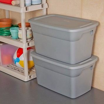 6 Large Plastic Storage Container Bin Stackable 30 Gallon Tote Box with Lid Set