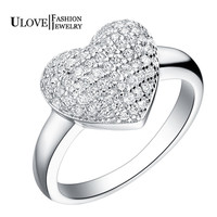Love Heart Silver Diamond Ring