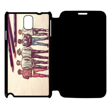 1D Art Samsung Galaxy Note 4 Flip Case Cover