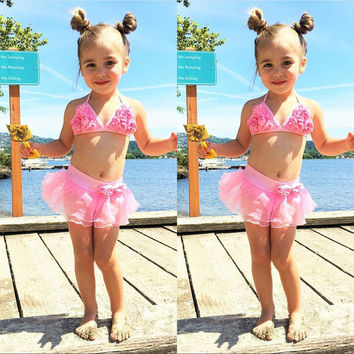 2017 New Baby Kids Girls Pink Bikini Set Swimsuit Summer Beach Swimwear Bathing Suit