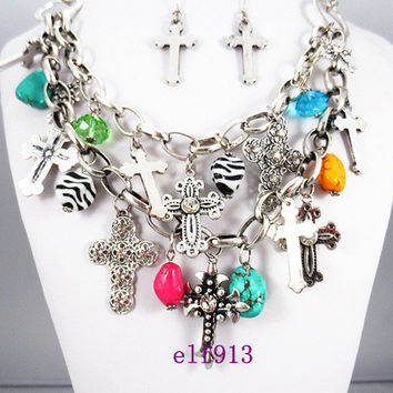 Cross combination necklace / Punk necklace / Cross earrings / 2 layers necklace / bridesmaid gifts, bib necklace,Fashion Necklace