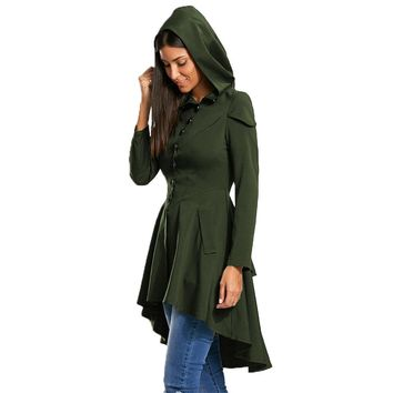 Autumn Women Layered Lace Up High Low Hooded Gothic Coat