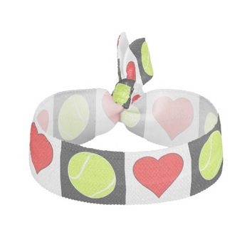 Tennis Balls and Hearts Checkered Pattern Hairties Ribbon Hair Tie