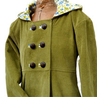 Hooded Corduroy Swing Coat Green Jacket Ladies Women Double Breasted Lined Overcoat Maternity Fashion Ready to Ship