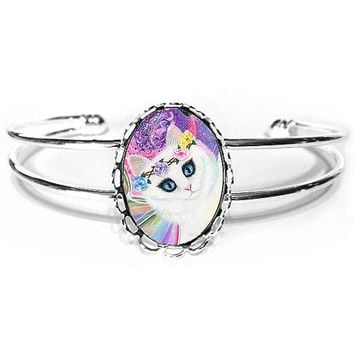 White Fairy Cat Bracelet Rainbow Cat Art 4 of Wands Tarot Art Silver Cat Cameo Bracelet 25x18mm Gift for Cat Lovers Jewelry
