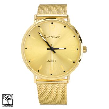 Jewelry Kay style Men's Women's Fashion 14K Gold Plated Metal Mesh Band Watches WM 7940 G