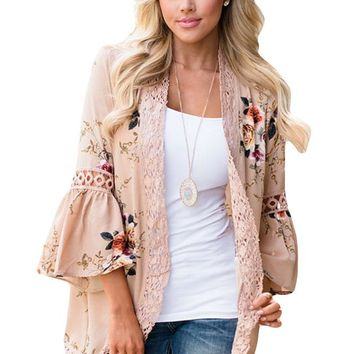 Chicloth Khaki Bell Sleeve Floral Kimono with Lace Detail