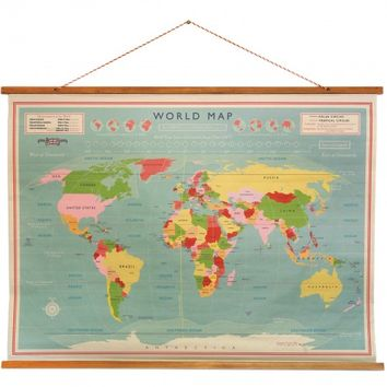 Vintage Style School World Map Poster - Ellie Ellie