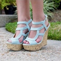 BBQ Invite Wedge-Denim - Wedges - SHOES