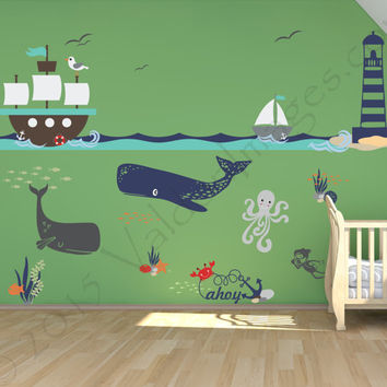 Ship adventure nursery wall decal, ocean wall decal, sea wall decal, nautical wall decal, kids room wall decal, underwater wall decal