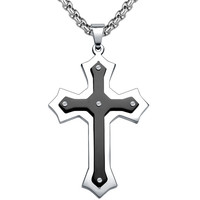 Stainless Steel Large Fleur De Lis Cross Pendant Necklace