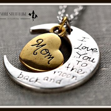 I Love You to the Moon and Back Necklace with Moon Heart Pendant Day-First™