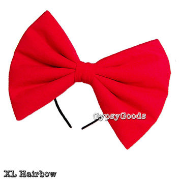 XL EXTRA LARGE Flannel Hair Bow (Headband) Big cosplay or costume hairbow in Red, Black, White, Pink, Purple or Yellow