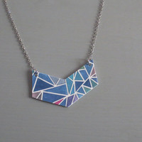 Chevron - Geometric Print Color Block Statement Resin Necklace