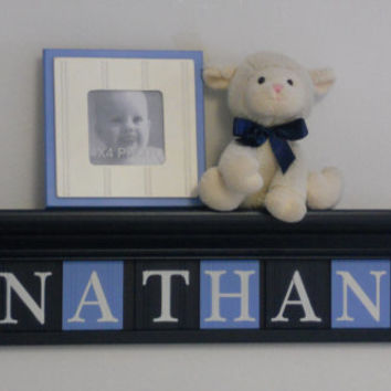 "Nautical Navy Nursery Wall Decor  - Custom Name - NATHAN with SailBoats on 30"" Navy Blue Shelf - 8 Pastel Blue and Navy Wooden Letters"