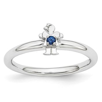 Rhodium Plate Sterling Silver Stackable Created Sapphire 7mm Girl Ring