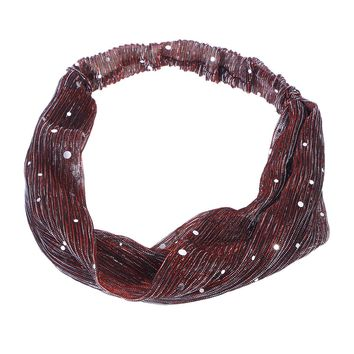 Women's Metallic Color Wide Elastic Sparkling Delicate Generous Headbands Cross Knotted Turban Knitted Headband for Ladies Wrap Bow Hairband