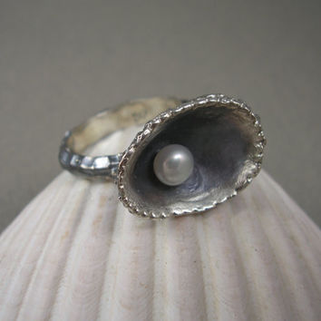 Shell and Freshwater Pearl Ring in Oxidized Sterling Silver Mermaid Series